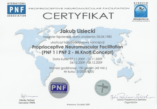 Certyfikat PNF1 i PNF2 Prioprioceptive Neuromuscular Facilitation 2009